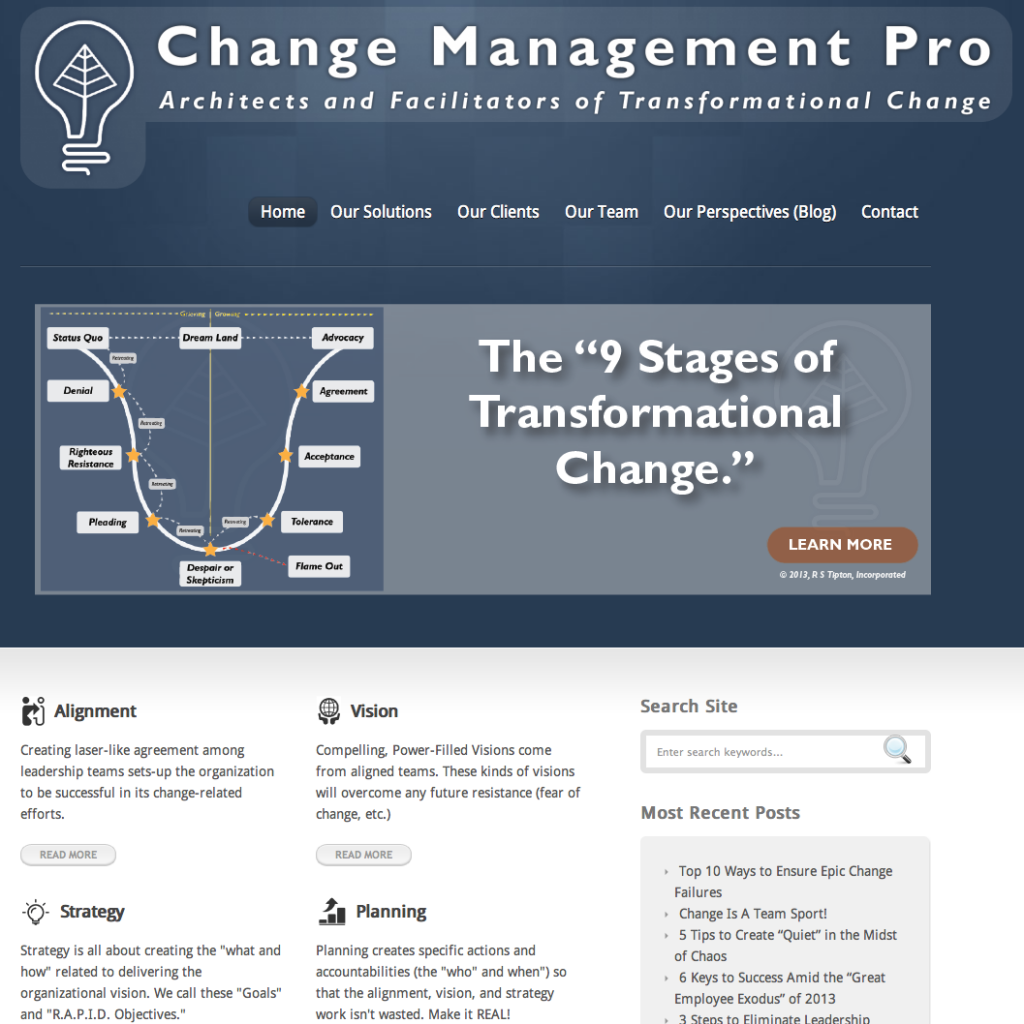 Change Management Pro Home Page, © 2013, R S Tipton, Incorporated