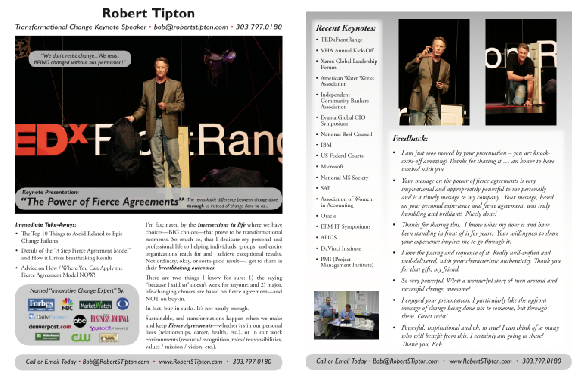 Robert S. Tipton Keynote Speaker THE POWER OF FIERCE AGREEMENTS One Sheet 2015 (V1)